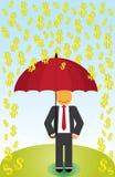 Rain Money. Man holding a red umbrella during a cash pour Royalty Free Stock Photos