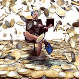 Rain of money. Businessman with fins on money rain background Royalty Free Stock Photography