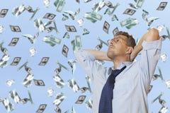 Rain of money dollar bills Royalty Free Stock Photos