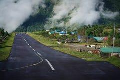 After Rain, Morning View of Tenzing–Hillary Airport Runway, Lu. Kla Nepal stock photography