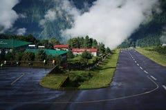 After Rain, Morning View of Tenzing–Hillary Airport Runway, Lu. Kla Nepal stock images