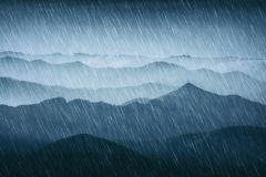 Rain in the mountains. With cold weather vector illustration