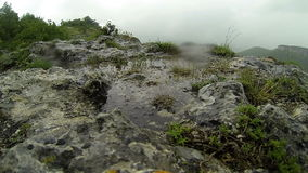 Rain in the mountains. Crimea. Ukraine. Plateau Baba-Dag. Cave city Mangup-Kale. stock video