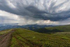 Rain in mountains. Rain in Ukrainian Carpatians near Gymba mountain Stock Photo