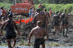 Rain of mud. Its raining mud as racers participates in the 2013 marathon called a Mudathlon, in northwest Indiana Royalty Free Stock Photography