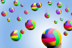Rain of multicolor balls Royalty Free Stock Photo
