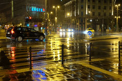 Rain at night in Budapest Royalty Free Stock Images