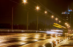 Rain and night traffic Stock Photography