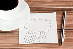 Rain of the numbers 1 and 0 on a napkin. And cup of coffee Stock Photography