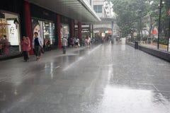Rain on Orchard Road Stock Photos