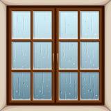 Rain outside the window. Vector illustration. Stock Photos