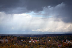 Rain over the autumn forest Royalty Free Stock Images