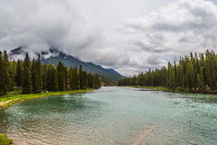 Rain over Bow River in Banff Stock Image