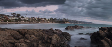Rain over Crescent Bay beach in Laguna Beach Royalty Free Stock Image