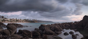 Rain over Crescent Bay beach in Laguna Beach Royalty Free Stock Photos