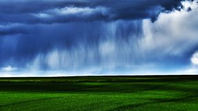 Rain over the field. The storm is coming over this field bathing in the sun light Royalty Free Stock Photos