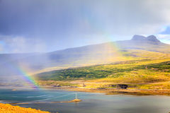 Rain over fjords royalty free stock photos