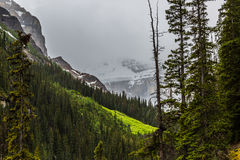 Rain over the glacier in Lake Louise Stock Image
