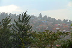 Rain Over Kigali. A hillside of the city Kigali, Rwanda seen during a frequent rain storm Stock Image