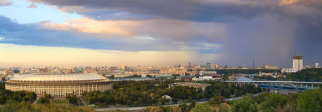 Rain over Moscow. Panorama of the rain over Moscow. View from the Vorobyovy Gory place royalty free stock photo