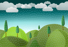 Rain over by mountains stock illustration