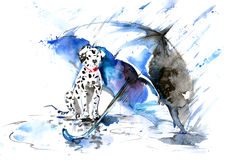 Rain. Painting of dog under an umbrella Royalty Free Stock Photo
