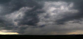 Rain panorama. Black storm clouds and rain panorama Royalty Free Stock Images