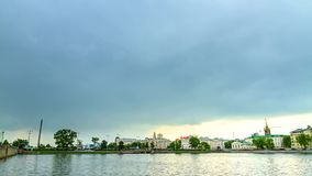 Rain passes over the city. Yekaterinburg Russia. Royalty Free Stock Image