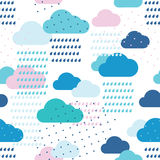 Rain pattern. Rain seamless pattern with drops and clouds. Bitmap picture with additional vector file Royalty Free Stock Image