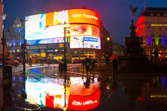 Rain in piccadilly circus Stock Image