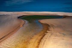 Rain pool at the dunes. Rain pool at Mangue Seco, Jandaira city, Bahia, Brazil. Circa 2005 royalty free stock photos