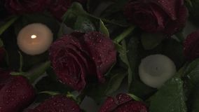 Rain pours candles and red roses sorrow for dead slow motion stock footage video stock video footage