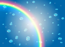 Rain with rainbow Stock Images