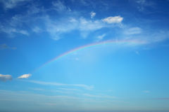 Rain Rainbow in Blue Sky Stock Image