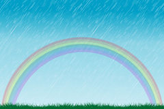 Rain and rainbow Stock Photo