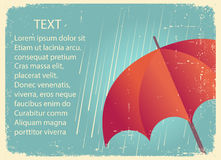 Rain  with red umbrella.Vintage poster on old paper for text Stock Images