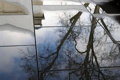 Rain reflection. At the art house in baden baden in germany europe Stock Photo