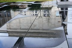 Rain reflection. At the art house in baden baden in germany europe Royalty Free Stock Photo