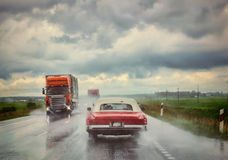 Rain on the road Royalty Free Stock Photography
