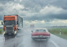 Rain on the road Royalty Free Stock Photos
