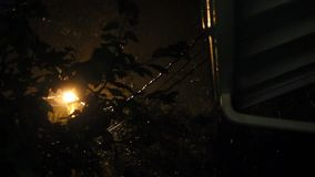 Rain falls on light and wires at night. Rain on roof, tree branches, and wires late at night stock footage