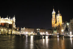 Rain rynek glowny. The rynek glowny square in a rain night at cracow in poland Stock Photography