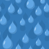 Rain seamless pattern. Vector background of Blue water drops. Stock Images