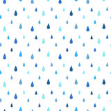 Rain seamless vector pattern. Falling water drops. Shades of blue. Rainy background Royalty Free Stock Photography