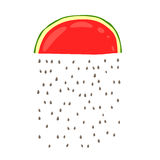 A rain of seeds from the slices of red watermelon Royalty Free Stock Photography