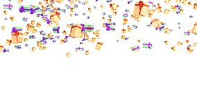 Rain of Several Green Purple and Orange Red Gold Gifts. With a white background Stock Images