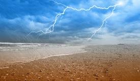 Rain on the shoreline. With lightning Royalty Free Stock Image