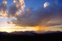 Rain shower over Mt. Mansfield. Royalty Free Stock Image