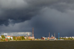 Rain. A sinister looking rain cloud pours down on town of Vaasa, Finland Stock Photos