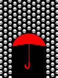 Rain of skulls. Umbrella protects from head of skeleton.  Royalty Free Stock Photos